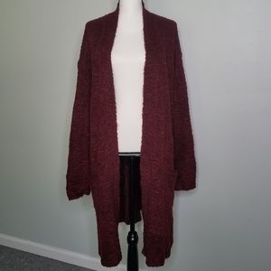 Ava & Viv 2X Long Sweater Burgundy Wine
